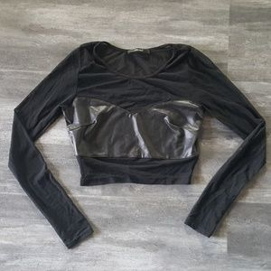 Black Leather Detailed F21 Sheer Long Sleeve
